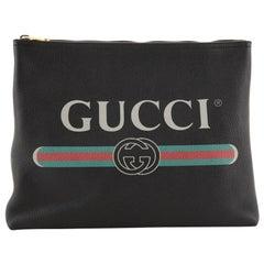 Gucci Logo Portfolio Pouch Printed Leather Medium