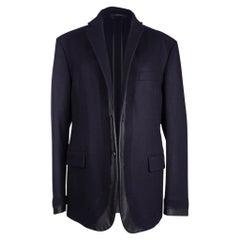 Hermes Men's Fantome Jacket Blue Marine Cashmere w/ Black Leather 52/42 New