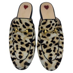 Gucci Princetown Leopard Calf Hair Slippers, Size  38.5