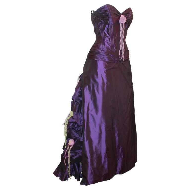Vicky Tiel Purple Silk Taffeta Strapless Gown w/ Floral Detail On Back - 42