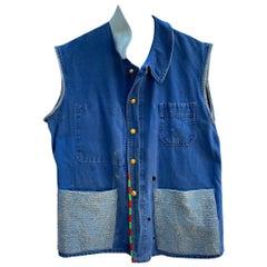 Vest Sleeveless Jacket Blue French Workwear Distressed Blue Glitter J Dauphin
