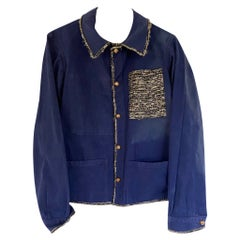 Jacket Blue French Workwear Black Gold Lurex Embellished J Dauphin