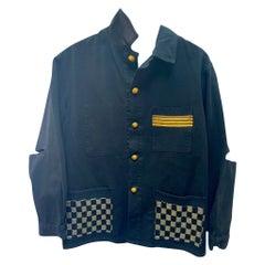 Jacket Black French Work Wear Gold Braid Silver Black Lurex Tweed J Dauphin