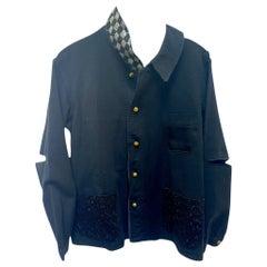 Jacket Black French Work Wear Silver Black Square Lurex Tweed J Dauphin