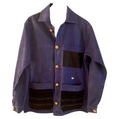 Jacket French Work Wear Blue Embellished Black Tweed J Dauphin