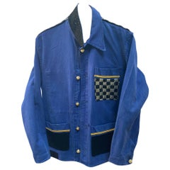 Jacket French Work Wear Blue Embellished Black Tweed Gold Braids J Dauphin