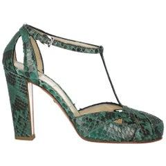 Prada Women Sandals Green Leather EU 38