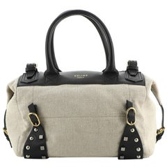 Celine Belted Zip Satchel Studded Leather and Canvas Small