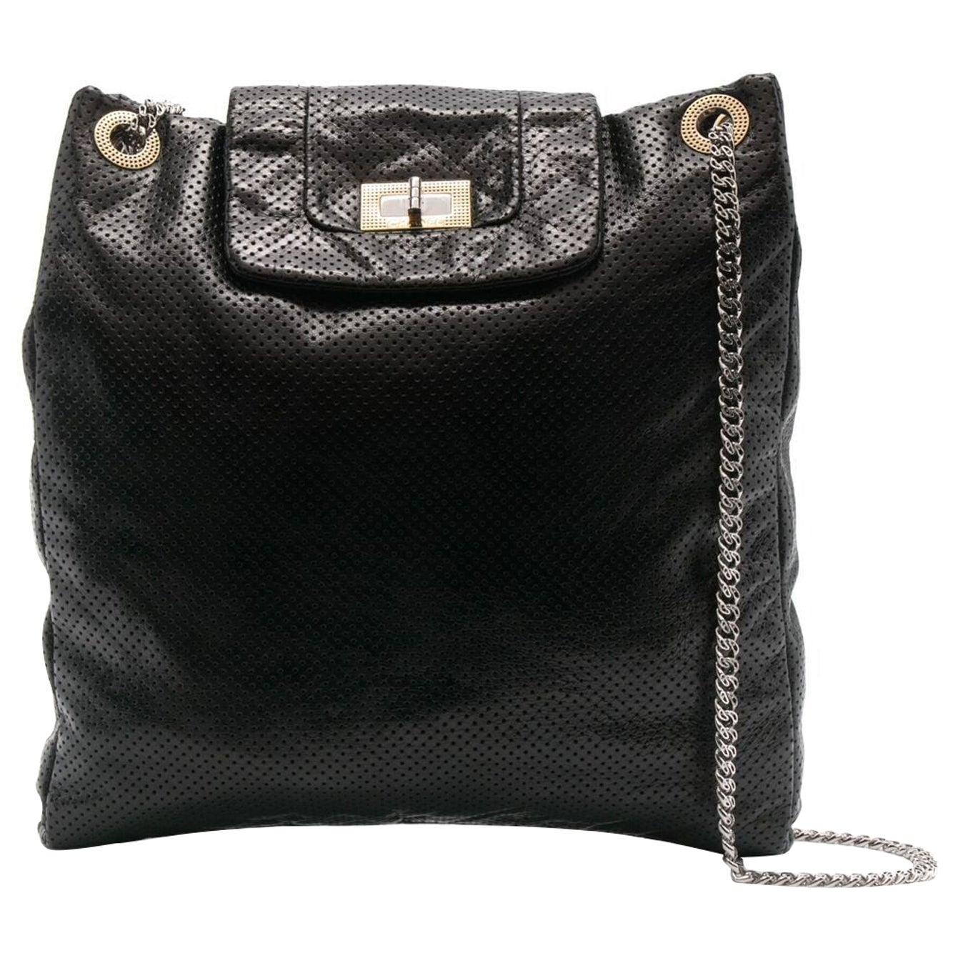 2008 Chanel Black Perforated Leather Shoulder Tote Bag