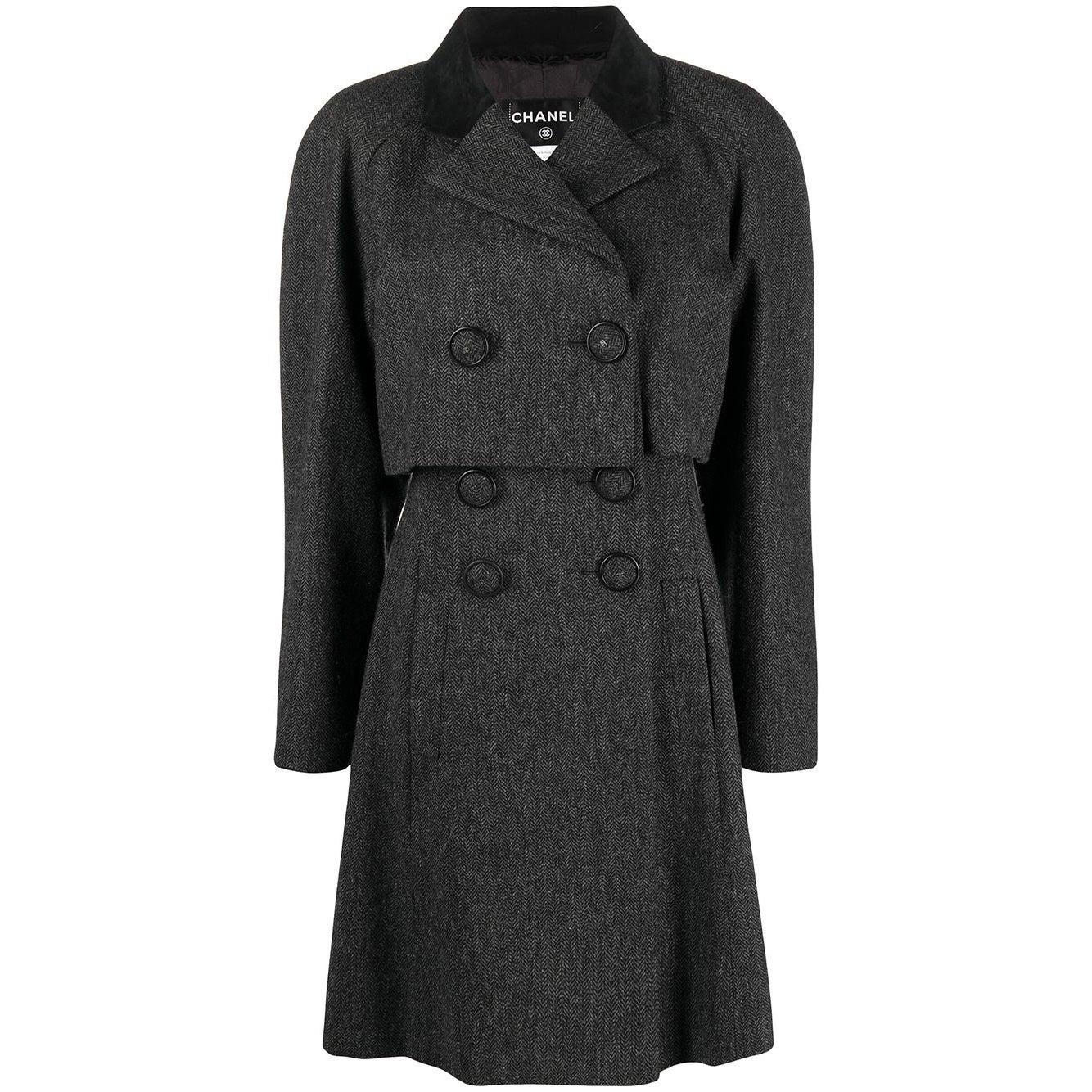Chanel Grey Wool Cape Coat