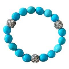 Sky Blue Kingman Arizona Turquoise and Swarovski Crystal Stretch Bracelet