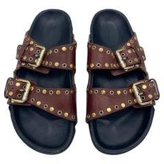Isabel Marant Lennyo Grommet Leather Slides Sandals, Size