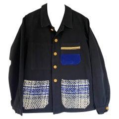 Jacket Black Wool Tartan Pockets Blue Cobalt White French Work Wear J Dauphin
