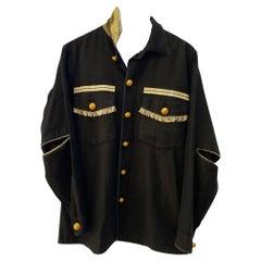 Embellished Black Jacket Silver Fringes Military Braid Gold Collar J Dauphin
