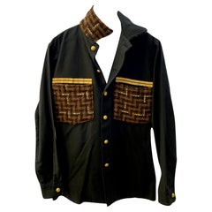 Black Jacket Military Brown Wool Tweed Gold Braid Buttons J Dauphin