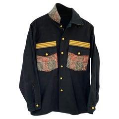 Black Jacket Military Red White Black Tartan Wool Gold Braid Buttons J Dauphin