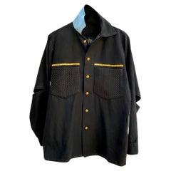 Black Jacket Military White Seafoam Lurex Piping Gold Braid Buttons J Dauphin