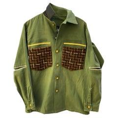Green Jacket Military Brown Wool Gold Braid Silver Black Silk J Dauphin
