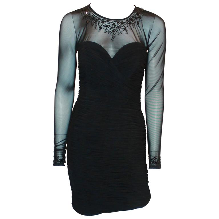 Vicky Tiel Black Jersey Cocktail Dress w/ Beading Around the Neck & Wrists - 6 For Sale