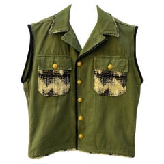 Embellished Green Sleeveless Jacket Vest Military Tweed Gold Buttons J Dauphin