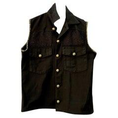 Embellished Black Sleeveless Jacket Vest Military Tweed Silver Buttons J Dauphin