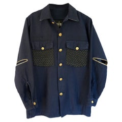 Embellished Dark Blue Military Jacket Black Silver Brocade White Silk J Dauphin