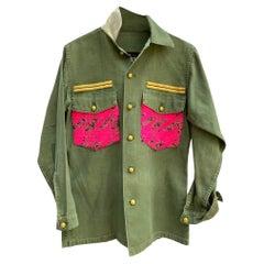 Embellished Green Military Jacket Neon Pink Gold Lurex Tweed J Dauphin