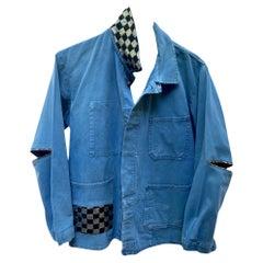 Embellished Distressed Original French Blue Work Wear Jacket J Dauphin