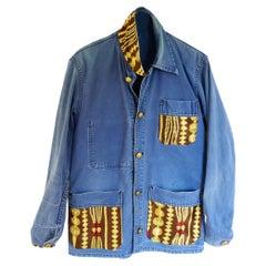 Embellished Distressed French Blue Jacket Designer Brown Chain Silk J Dauphin