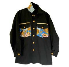 Embellished Black Jacket Designer Light Blue Printed Silk J Dauphin