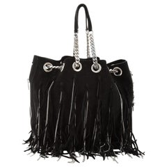 Saint Laurent Emmanuelle Chain Bucket Bag Chain Fringe Suede Medium