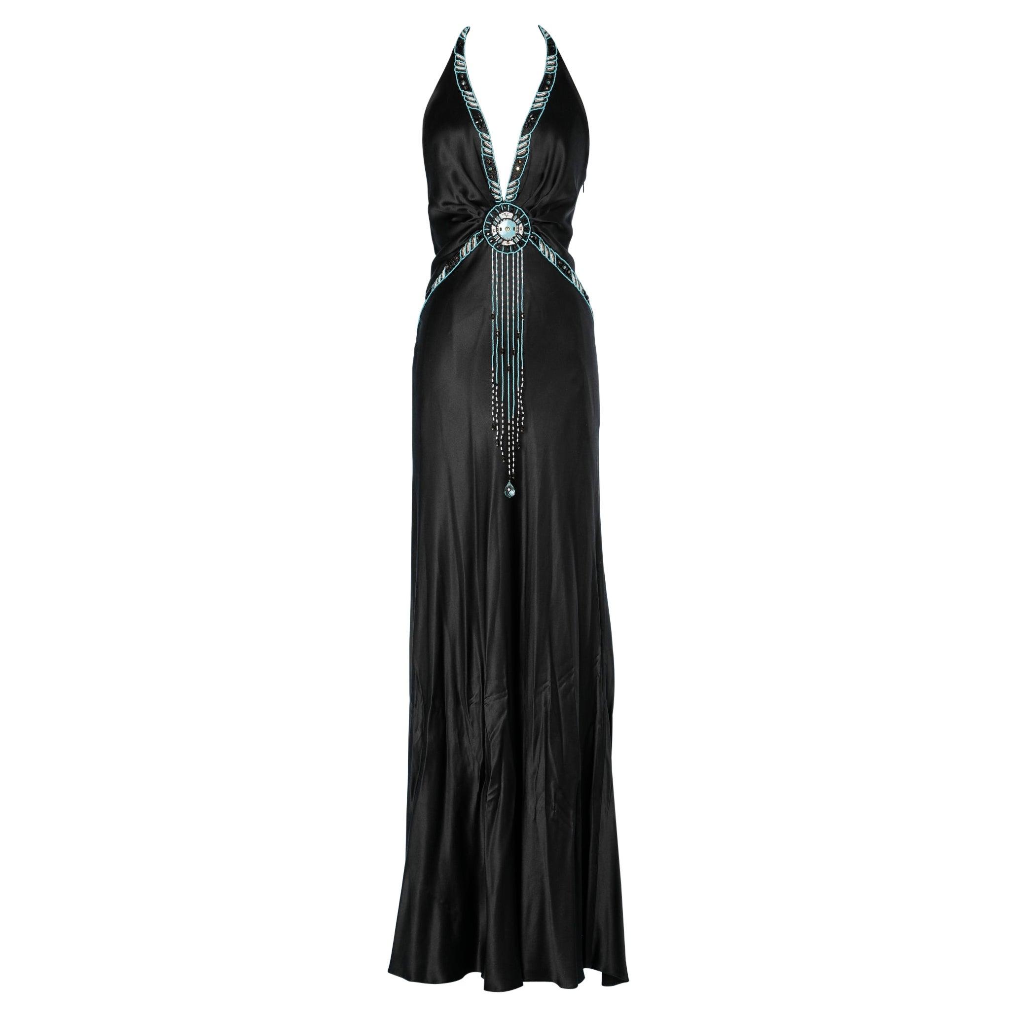 Long black silk backless evening gown beaded embellished  Jenny Packham