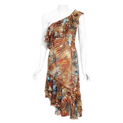 Vintage 1997 Thierry Mugler Couture Butterfly Wings Print Silk Asymmetric Dress