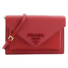 Prada Monochrome Envelope Crossbody Bag Saffiano with City Calf Mini