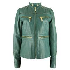 Just Cavalli Forest Green Leather Biker Jacket