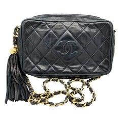 Chanel Vintage Lambskin Quilted CC Tassel Camera Case Navy