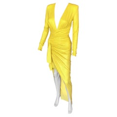 Alexandre Vauthier Crystal Embellished Plunging Yellow Evening Dress Gown
