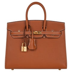 Hermes Birkin 25 Bag Sellier Gold w/ Gold Hardware Veau Madame Leather