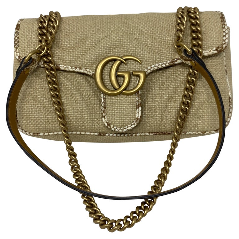 Gucci Small Marmont Straw Floral Interior Bag