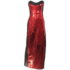 90s BILL BLASS red and black sequin strapless gown