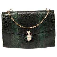 Bvlgari Green Karung Serpenti Forever Flap Shoulder Bag