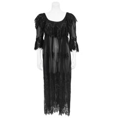1970s Chloe Black Embroidered Tulle Cocktail dress