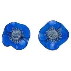 Francoise Montague by Cilea Paris Blue Poppy Resin Clip Earrings