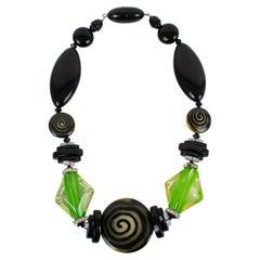 Angela Caputi Black and Green Resin Choker Necklace