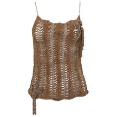 Vintage CHANEL Brown Suede Cut Out Spaghetti Strap Tank Top