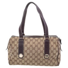 Gucci Beige/Brown GG Canvas and Leather Charmy Boston Bag