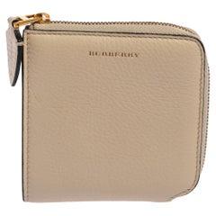 Burberry Beige Leather Meldon Half Zip Square Wallet