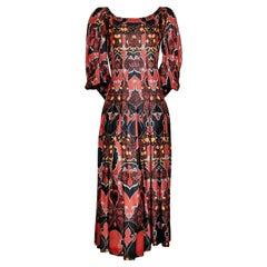 Irene Galitzine Box Pleated Silk Dress