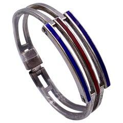 Gucci Vintage Silver 800 Enameled Striped Cuff Bracelet