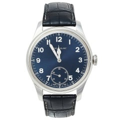 Montblanc Blue Stainless Steel and Leather 1858 7333 Men's Wristwatch 44 mm